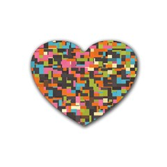 Colorful Pixels Rubber Coaster (heart)