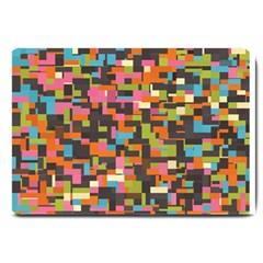 Colorful pixels Large Doormat