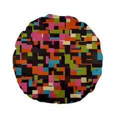 Colorful Pixels 15  Premium Round Cushion