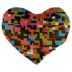 Colorful Pixels 19  Premium Heart Shape Cushion