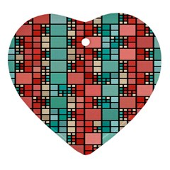 Red And Green Squares Ornament (heart)