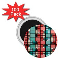 Red And Green Squares 1 75  Magnet (100 Pack)