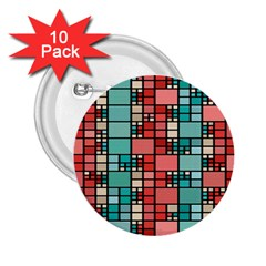 Red And Green Squares 2 25  Button (10 Pack)