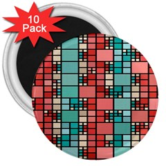Red and green squares 3  Magnet (10 pack)