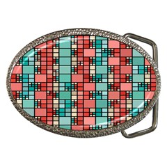 Red And Green Squares Belt Buckle