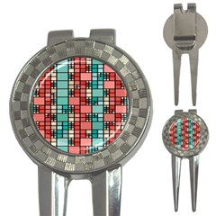Red And Green Squares 3 In 1 Golf Divot
