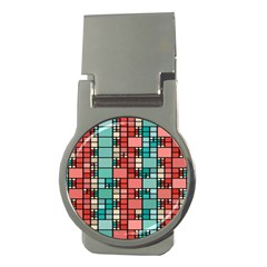 Red And Green Squares Money Clip (round)