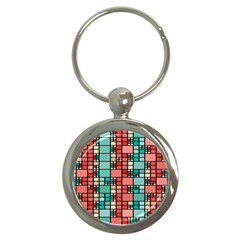 Red and green squares Key Chain (Round)