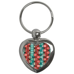 Red And Green Squares Key Chain (heart)