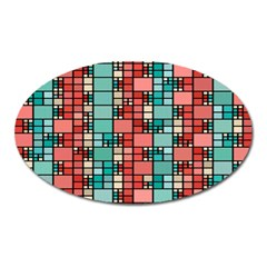 Red And Green Squares Magnet (oval)