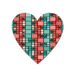 Red And Green Squares Magnet (heart)