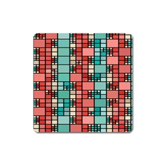 Red And Green Squares Magnet (square)