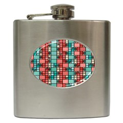 Red And Green Squares Hip Flask (6 Oz)
