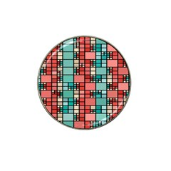 Red And Green Squares Hat Clip Ball Marker