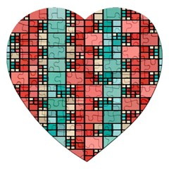Red And Green Squares Jigsaw Puzzle (heart)