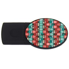 Red And Green Squares Usb Flash Drive Oval (4 Gb)