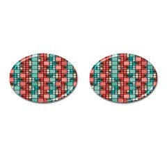 Red And Green Squares Cufflinks (oval)