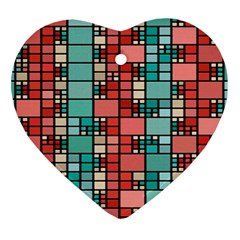 Red And Green Squares Heart Ornament (two Sides)