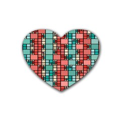 Red And Green Squares Rubber Coaster (heart)