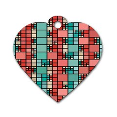 Red And Green Squares Dog Tag Heart (two Sides)