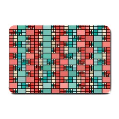 Red And Green Squares Small Doormat