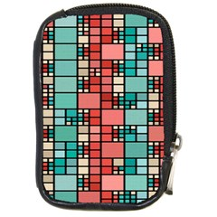 Red And Green Squares Compact Camera Leather Case