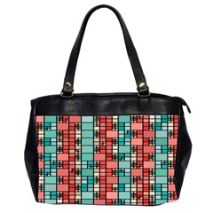Red And Green Squares Oversize Office Handbag (two Sides)