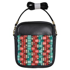 Red And Green Squares Girls Sling Bag