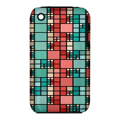 Red and green squares Apple iPhone 3G/3GS Hardshell Case (PC+Silicone)