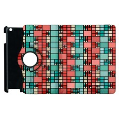 Red and green squares Apple iPad 3/4 Flip 360 Case