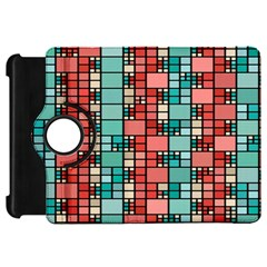Red and green squares Kindle Fire HD Flip 360 Case