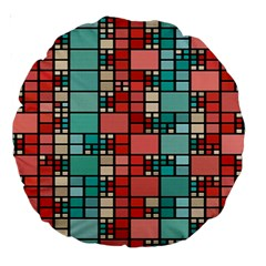 Red And Green Squares 18  Premium Round Cushion