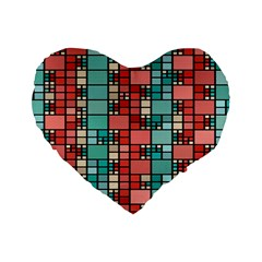 Red and green squares 16  Premium Heart Shape Cushion