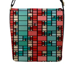 Red And Green Squares Flap Closure Messenger Bag (large)
