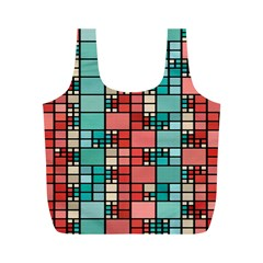 Red And Green Squares Full Print Recycle Bag (m)