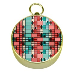 Red And Green Squares Gold Compass