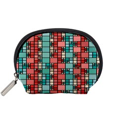 Red and green squares Accessory Pouch (Small)