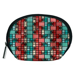 Red and green squares Accessory Pouch (Medium)