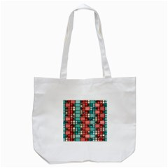 Red and green squares Tote Bag (White)