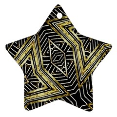 Geometric Tribal Golden Pattern Print Star Ornament