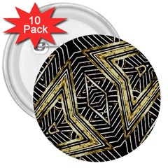Geometric Tribal Golden Pattern Print 3  Button (10 pack)