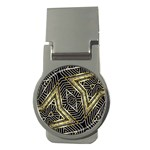 Geometric Tribal Golden Pattern Print Money Clip (Round) Front