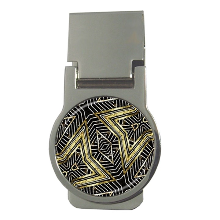 Geometric Tribal Golden Pattern Print Money Clip (Round)