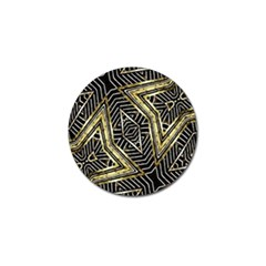 Geometric Tribal Golden Pattern Print Golf Ball Marker