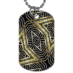 Geometric Tribal Golden Pattern Print Dog Tag (Two-sided)
