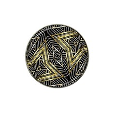 Geometric Tribal Golden Pattern Print Golf Ball Marker (for Hat Clip)