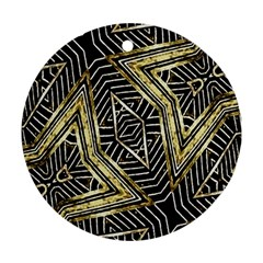 Geometric Tribal Golden Pattern Print Round Ornament (two Sides)