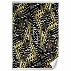 Geometric Tribal Golden Pattern Print Canvas 24  x 36  (Unframed)