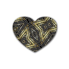 Geometric Tribal Golden Pattern Print Drink Coasters (heart)
