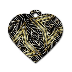 Geometric Tribal Golden Pattern Print Dog Tag Heart (two Sided)